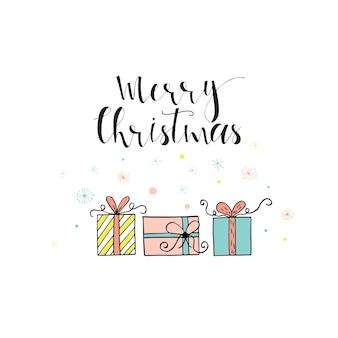 Frohe weihnachten süße grußkarte mit geschenken. skandinavischer stil von postern für einladung, kinderzimmer, kinderzimmer, innenarchitektur.