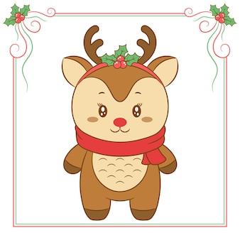 Frohe weihnachten süße rentierzeichnung mit schönen schal