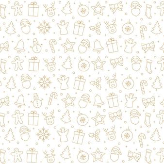 Frohe weihnachten-symbol-muster-elemente goldener weißer hintergrund