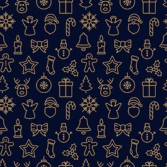 Frohe weihnachten symbol muster nahtlose elemente goldenen hintergrund