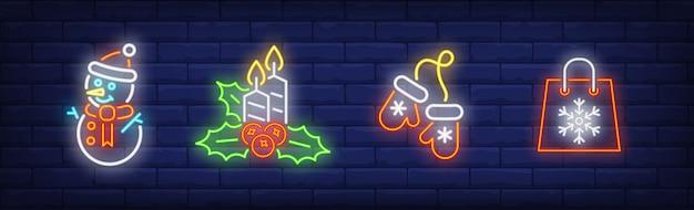 Frohe weihnachten symbole im neonstil gesetzt