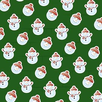 Frohe weihnachten-szene mit schneemann-muster