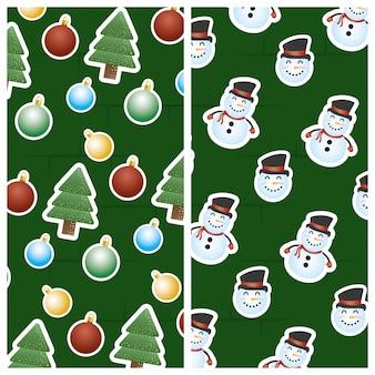 Frohe weihnachten-szene mit schneemann und bäumen muster