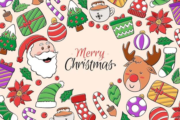Frohe weihnachten tapete zeichnen konzept