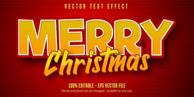 Frohe weihnachten text, bearbeitbarer texteffekt im cartoon-stil auf rote farbe