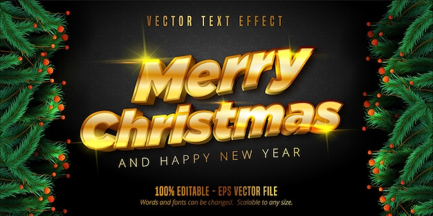 Frohe weihnachten text, glänzenden gold weihnachten stil bearbeitbaren texteffekt