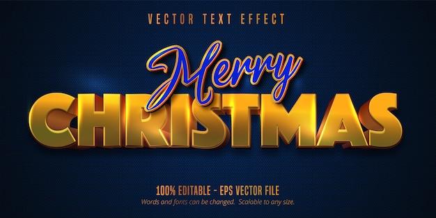 Frohe weihnachten text, glänzender goldener stil bearbeitbarer texteffekt auf blaue farbe strukturiert