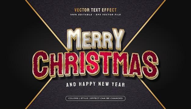 Frohe weihnachten text mit elegantem weißen und roten konzept und realistischem effekt