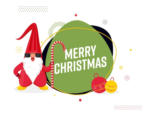 Frohe weihnachten text mit kugeln und niedlichen gnom, der eine zuckerstange auf weißem hintergrund hält.