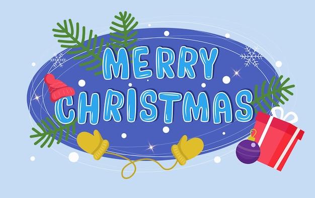 Frohe weihnachten-text mit weihnachtsmütze fäustlinge geschenk und schneeflocken vektor-illustration