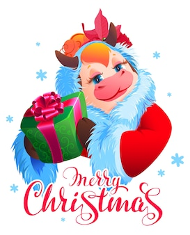 Frohe weihnachten text santa cow symbol 2021 hält grüne geschenkbox. cartoon illustration grußkarte