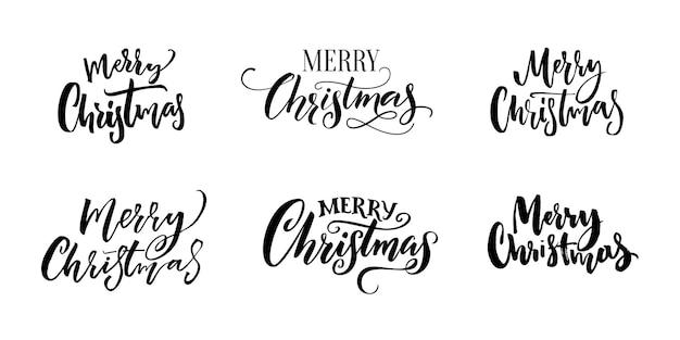 Frohe weihnachten textinschriften. set aus kalligraphie und handbeschriftung für weihnachtsgrußkarten, tags und overlays. schwarze wörter getrennt auf weißem hintergrund.