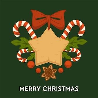 Frohe weihnachten, traditionelle lebkuchenplätzchen und süßigkeitsgrußkarte