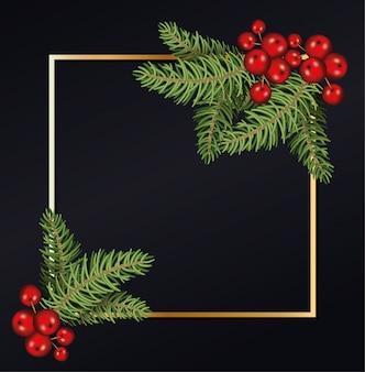 Frohe weihnachten treiben mit kirschen im goldenen rahmenhintergrund blätter