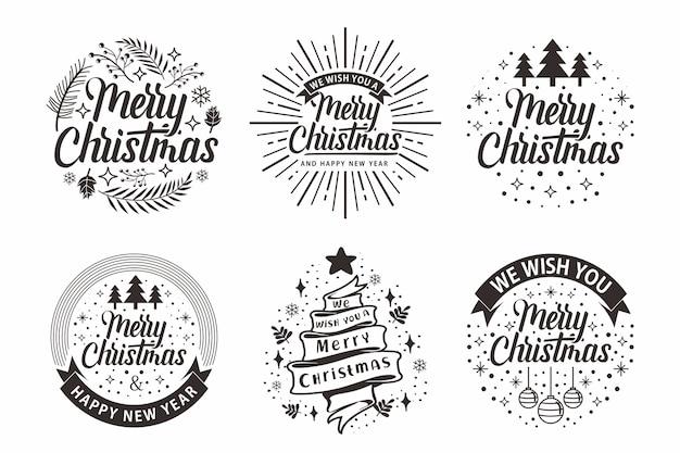 Frohe weihnachten typografie schriftzug sammlungen