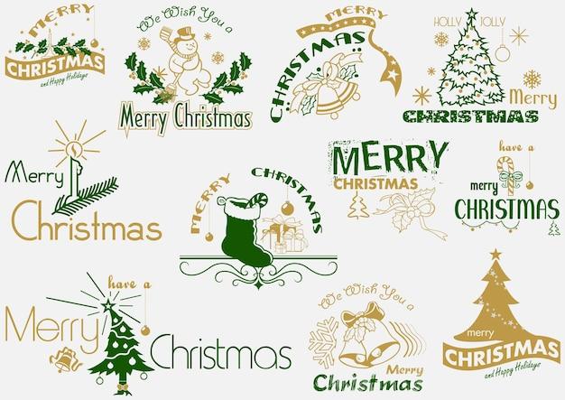 Frohe weihnachten-typografie-set als logo oder embleme