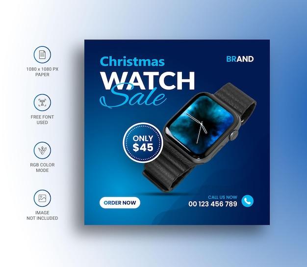 Frohe weihnachten uhr verkauf social media instagram post banner design