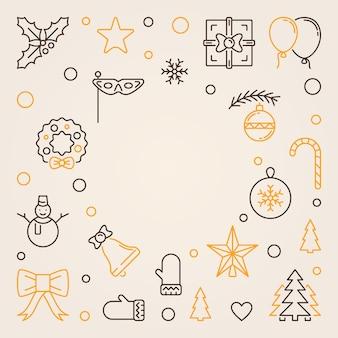 Frohe weihnachten umriss hintergrund