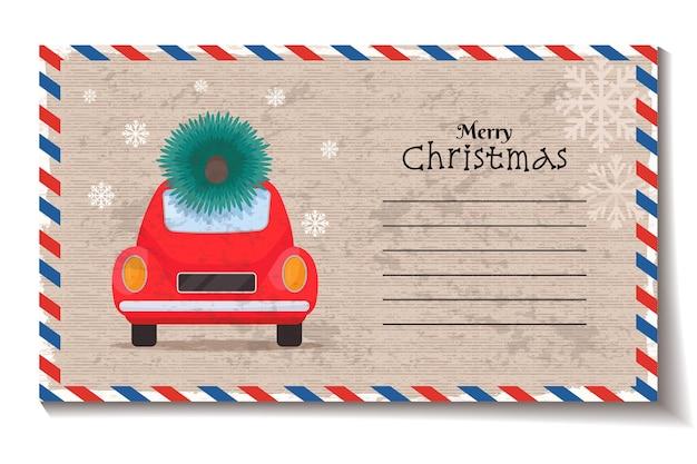 Frohe weihnachten-umschlag mit weihnachtsbaum auf retro-auto-vektor-illustration im vintage-stil