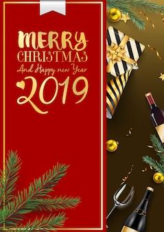Frohe weihnachten und 2019 guten rutsch ins neue jahr-hintergrund