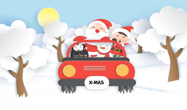Frohe weihnachten und banner mit einem niedlichen weihnachtsmann und freunden im schneewald.