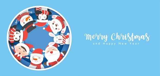 Frohe weihnachten und banner mit niedlichen weihnachtsmann und einem pinguin.