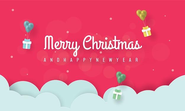 Frohe weihnachten und ein frohes neues jahr banner mit geschenken und ballon Premium Vektoren