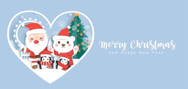 Frohe weihnachten und ein frohes neues jahr banner mit niedlichen weihnachtsmann und freunden.