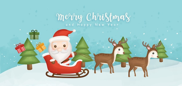 Frohe weihnachten und ein frohes neues jahr banner mit niedlichen weihnachtsmann und rentieren.