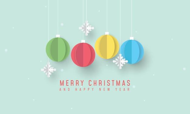 Frohe weihnachten und ein frohes neues jahr banner mit weihnachtsschmuck und schneeflocken Premium Vektoren