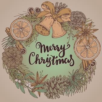 Frohe weihnachten und ein frohes neues jahr grußkarte mit handgezeichneten winterpflanzen