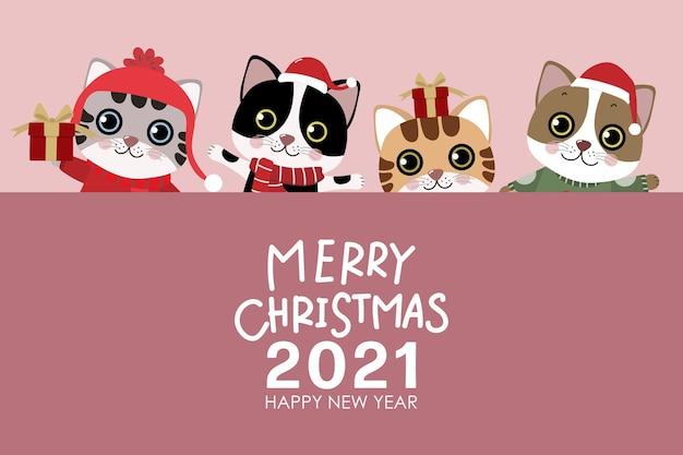 Frohe weihnachten und ein frohes neues jahr grußkarte mit niedlichen katze