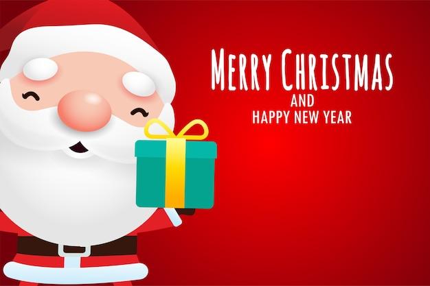 Frohe weihnachten und ein frohes neues jahr grußkarte mit niedlichen weihnachtsmann, der weihnachtsgeschenk hält