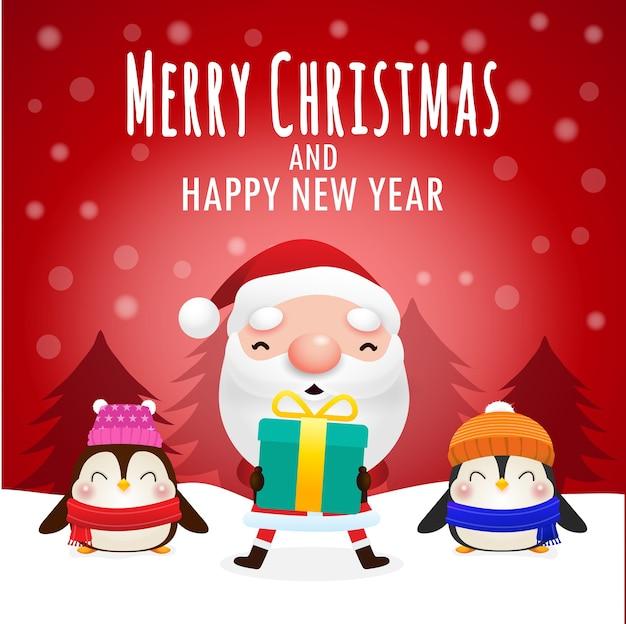 Frohe weihnachten und ein frohes neues jahr grußkarte mit niedlichen weihnachtsmann, der weihnachtsgeschenk und leeren raum für nachrichten in der roten hintergrundfahnenschablonenkopie hält raum lokalisiert auf hintergrund