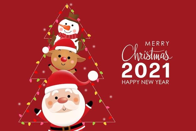 Frohe weihnachten und ein frohes neues jahr grußkarte mit niedlichen weihnachtsmann, hirsch und schneemann.
