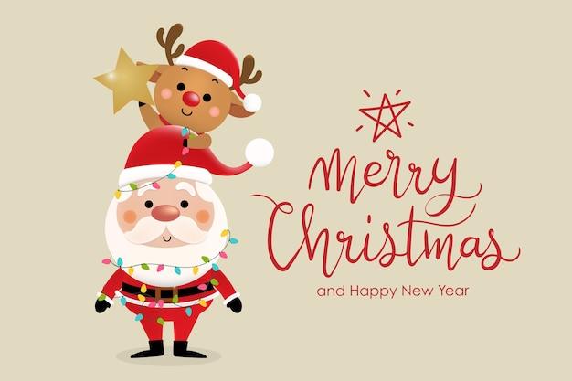 Frohe weihnachten und ein frohes neues jahr grußkarte mit niedlichen weihnachtsmann