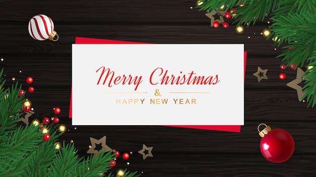Frohe weihnachten und ein frohes neues jahr grußkarte mit sternen auf der hölzernen textur