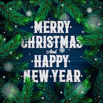 Frohe weihnachten und ein frohes neues jahr grußkarte mit text von christbaumzweigen