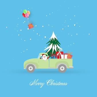 Frohe weihnachten und ein frohes neues jahr grußkartenhintergrund mit pickup mit weihnachtsbaum und geschenkbox.