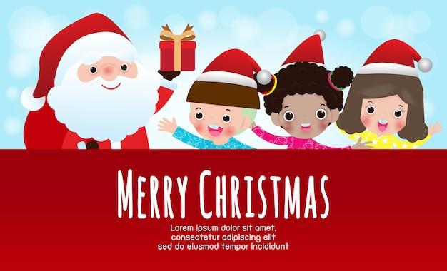 Frohe weihnachten und ein frohes neues jahr hintergrund mit weihnachtsmann geschenke geben