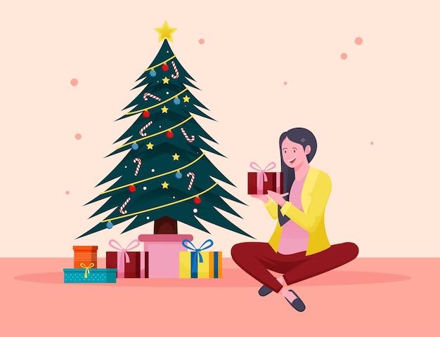 Frohe weihnachten und ein frohes neues jahr illustration konzept