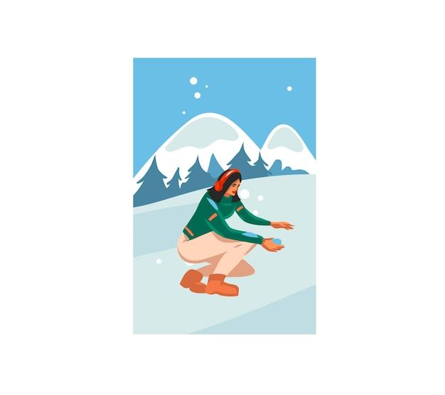 Frohe weihnachten und ein frohes neues jahr karikaturillustration