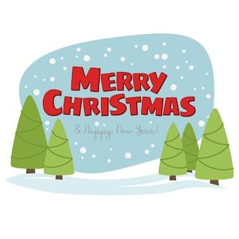 Frohe weihnachten und ein frohes neues jahr niedliche illustration. weihnachtslandschaft mit schnee und weihnachtsbäumen.