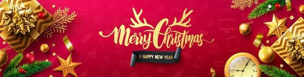 Frohe weihnachten und ein frohes neues jahr rotes banner mit geschenkbox und weihnachtsdekorationselementen