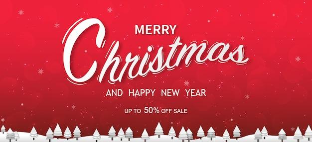 Frohe weihnachten und ein frohes neues jahr typografisch auf weihnachtshintergrund mit winterlandschaft mit schneeflocken, frohe weihnachtskarte.