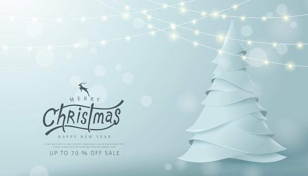 Frohe weihnachten und ein frohes neues jahr verkaufen banner hintergrund mit papierkunst und bastelstil