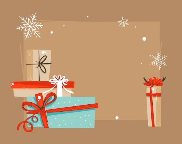 Frohe weihnachten und ein frohes neues jahr vintage illustrationen grußkarte vorlage mit überraschung geschenkboxen und platz für ihren text isoliert auf braunem hintergrund