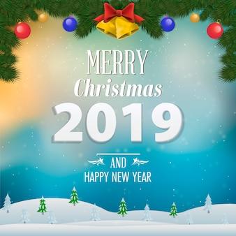 Frohe weihnachten und ein glückliches neues jahr 2019 grußkarte