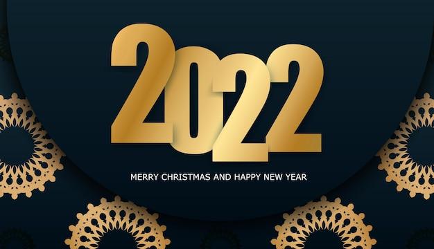 Frohe weihnachten und ein glückliches neues jahr 2022 flyer vorlage dunkelblau mit luxus gold ornament