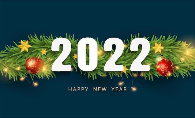 Frohe weihnachten und ein glückliches neues jahr 2022. realistischer 3d glänzender stern, äste, weihnachtskugeln und licht auf dunklem hintergrund mit weißem zahlendesign. vektor-illustration.
